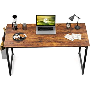 """CubiCubi Computer Desk 47"""" Study Writing Table for Home Office, Industrial Simple Style PC Desk, Black Metal Frame, Rustic"""
