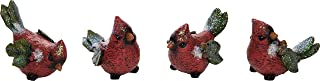 Red Cardinal Bird Figurines Holly Leaves - Set of 4 - Christmas Holiday Decor
