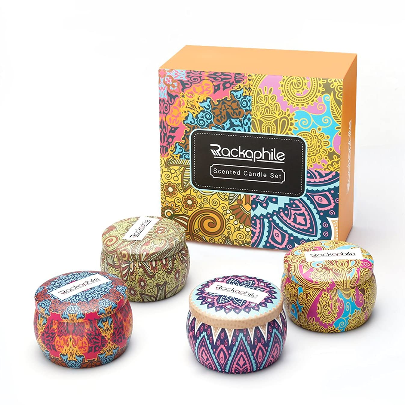Rackaphile 4 Oz Pure Soy Wax Travel Tin Scented Candle Set, Lead-Free Wick, Aromatherapy Candles Rose, Lemon, Lavender and Mediterranean Fig with Christmas Gift Box