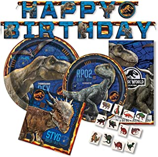 Jurassic World Party Supplies Pack for 16 Guests - Includes Paper Plates, Napkins, Banner, Tattoos by FAKKOS Design