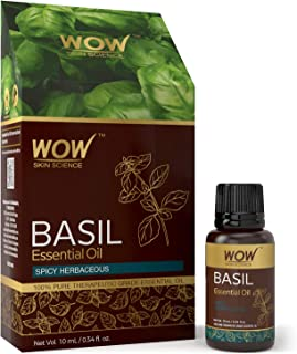 WOW Basil Essential Oil - Energy & Vitality - Mood, Focus & Concentration - Perfect For Aromatherapy Meditation and Relaxation - DIY Wellness Mix - 100% Pure Therapeutic Grade (Undiluted) - 10 mL