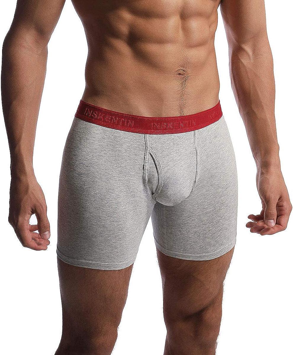 Inskentin Men's 3 Pack Low Rise Cotton Knit Boxer Briefs Slim Fit Breathable Underwear Open Fly