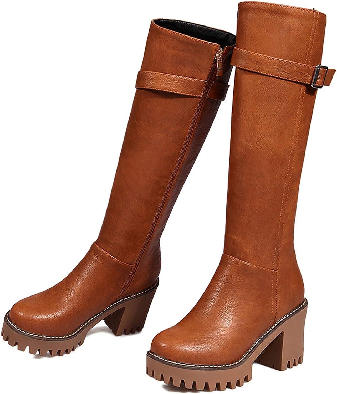 Women Boots Round Toe Zipper Ladies Boots Square Heel Platform Buckle Knee High Boots