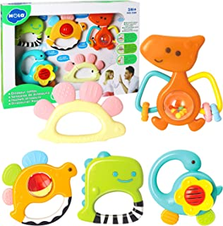 HOLA Baby Rattle Teether Set, Infant Dinosaur Rattle Toys, Grab and Spin Shaker, Silicone Teething Sensory Toy, Newborn Sh...