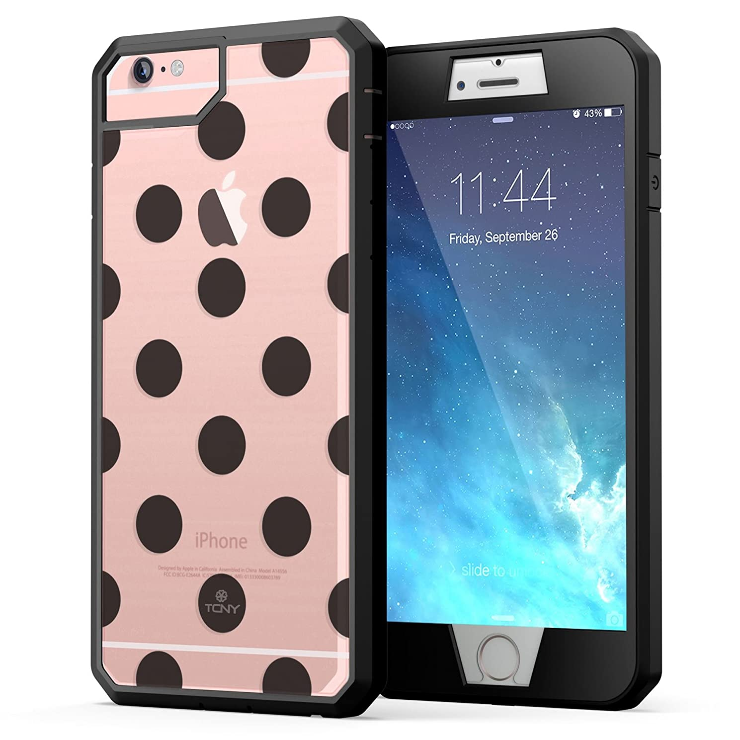 True Color Case Compatible with iPhone 6s Plus Case, Polka Dot [Dots Collection] Heavy Duty Hybrid + 9H Tempered Glass 360° Protection [True Armor Series] - Black