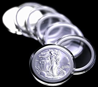 10 Airtite Coin Capsule Holders w WHITE Rings for American Silver Eagle Dollar by Pinnacle