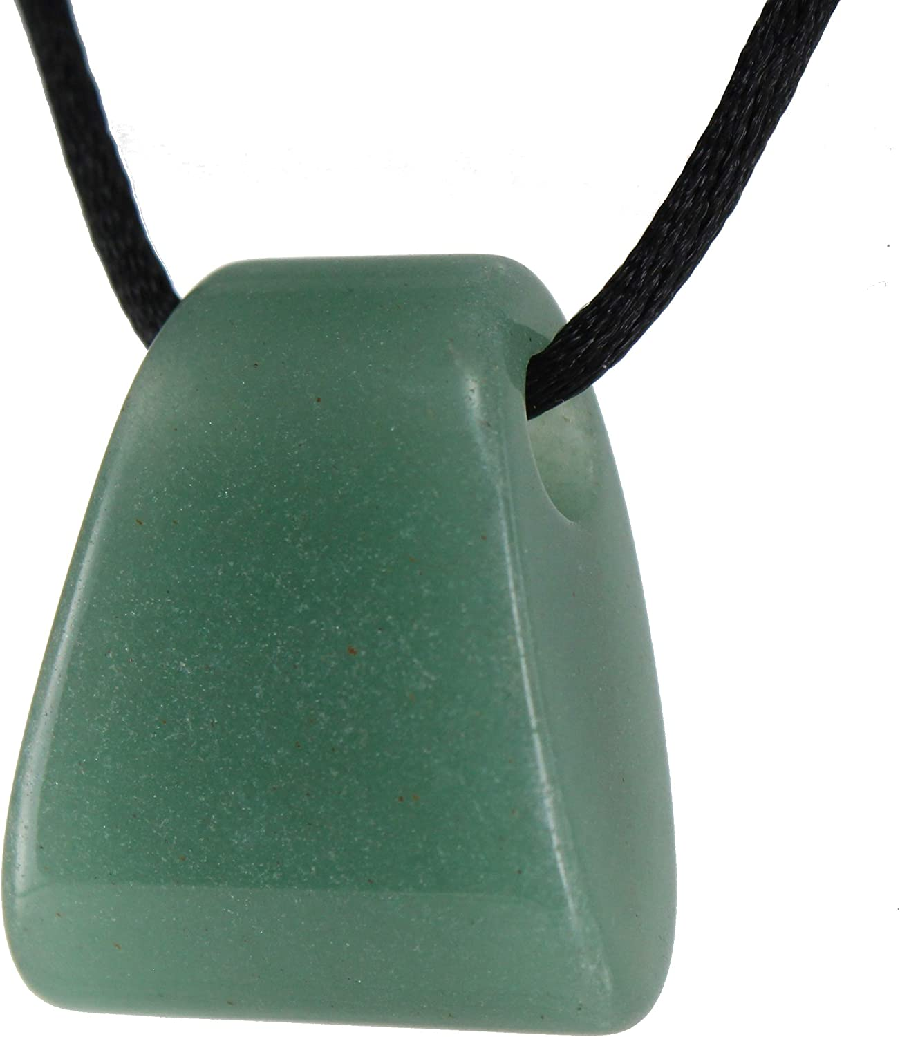 Limited Edition - Core Elements - 30mm Keystone Axe Wedge Shaped Aventurine, Green - Black Cord – Natural Stone Crystal Gemstone Pendant Necklace Charm