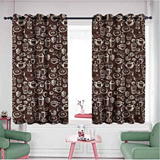 HCCJLCKS Half Blackout Curtains Hand Drawn Style Pattern with Coffee Tea Cups Donuts and Sweets Thermal Insulated Block Out Sunlight Shade Dark Brown and White W63 x L45