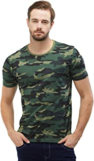 beb38abe3b30 Wear Your Opinion Men's Camouflage Army Military Half Sleeve Round Neck T- Shirt