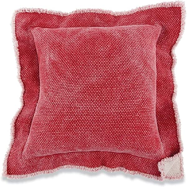 Mud Pie Red Double Flange Pillow
