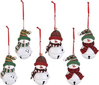Sea Team Assorted Clay Figurine Jingle Bell Ornaments Traditional Snowman Doll Hanging Charms Christmas Tree Ornament Holiday Decorations (6 Piece)