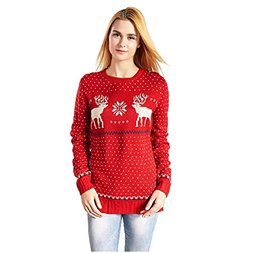 Christmas Sweater Women.Women S Red Christmas Sweater Amazon Com