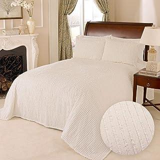 HowPlum 100% Cotton Tufted Chenille Stripe Textured Queen Bedspread Lightweight Bedding Coverlet, Ivory Cream