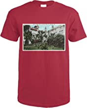 St. Augustine, Florida - Alcazar Hotel Court and Rustic Bridge 35082 (Cardinal Red T-Shirt XX-Large)