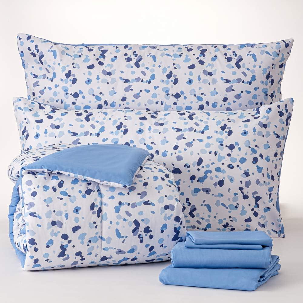 Dawn 訳あり 7-Piece Bed-in-a-Bag Comforter Set S Blue King in Terrazo 並行輸入品
