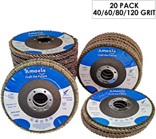 amoolo 20 Pack Flap Disc, T29 Aluminum Oxide Angle Grinder Sanding Disc, 4-1/2 x 7/8 inch, 40/60/80/120 Grit Abrasive Grinding Wheel