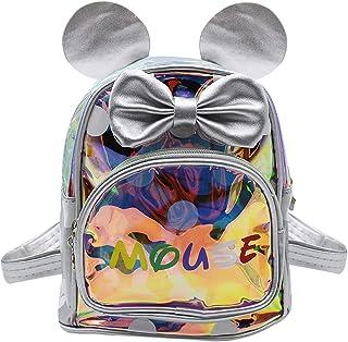mosstyus Children Toddler Holographic Backpack Cartoon Mouse Ear Polka-dot Bowknot Travel Preschool Satchel Knapsack