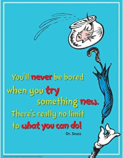 Eureka Dr. Seuss The Cat in The Hat 'Try Something New' Classroom Poster, 17'' W x 22'' H
