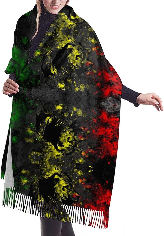 Lion Jamaican Flag Cashmere Feel Scarf Lightweight Soft Scarfs For Boys Girls Creative Warm Cold Weather Blanket Scarf