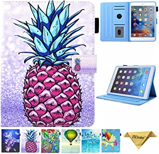 JZCreater Case for iPad Mini 1/2/3/4 - Folio Stand Wallet Case, Auto Sleep/Wake Feature for Apple iPad Mini 123/ iPad Mini 4, Purple Pineapple