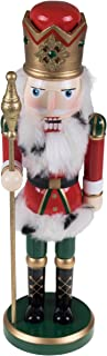 """Clever Creations Tall Ornate King Nutcracker Traditional Red and Green Uniform Holding Scepter 