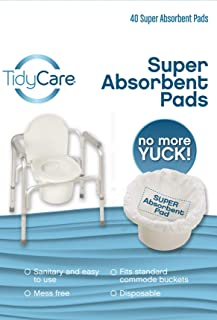 TidyCare Super-Absorbent Pads - 40 Count - for Bedside Commode and Bedpan