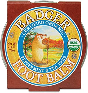 Badger - Foot Balm, Peppermint & Tea Tree, Heel Balm for Dry Cracked Feet, Certified Organic, Foot Balm with Essential Oil...