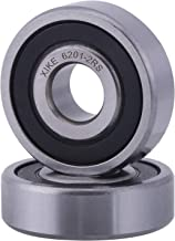 XiKe 2 Pcs 6201-2RS Double Rubber Seal Bearings 12x32x10mm, Pre-Lubricated and Stable Performance and Cost Effective, Deep Groove Ball Bearings.