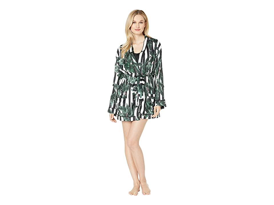 Plush Silky Striped Jungle Print Lounge Pajama Robe (Black/White Striped Jungle) Women