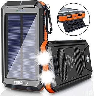 YOESOID Cargador Solar portátil de 20000 mAh, batería Externa de Reserva Solar, Cargador de teléfono Solar Impermeable con Dos Puertos USB, 2 mosquetones de luz LED y brújula para Smartphones y más