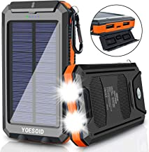 Solar Charger 20000mAh YOESOID Portable Solar Power Bank External Backup Battery Pack Waterproof Solar Phone Charger with Dual USB Ports 2 LED Light Carabiner and Compass for Smartphones and More