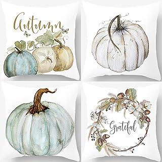 PSDWETS Autumn Decorations Pumpkin Pillow Covers Set of 4 Fall Decor Grateful..