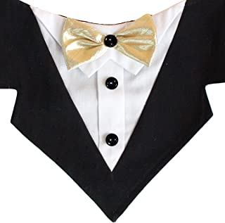 Tail Trends Formal Dog Tuxedo Dog Wedding Bandana with Bow Tie and Neck Tie Designs for Special Occasions