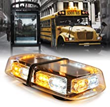 Xprite White & Amber 36 LED 16 Flashing Mode Mini Bar Strobe Lights Law Enforcement Emergency Hazard Warning Light with Magnetic Base