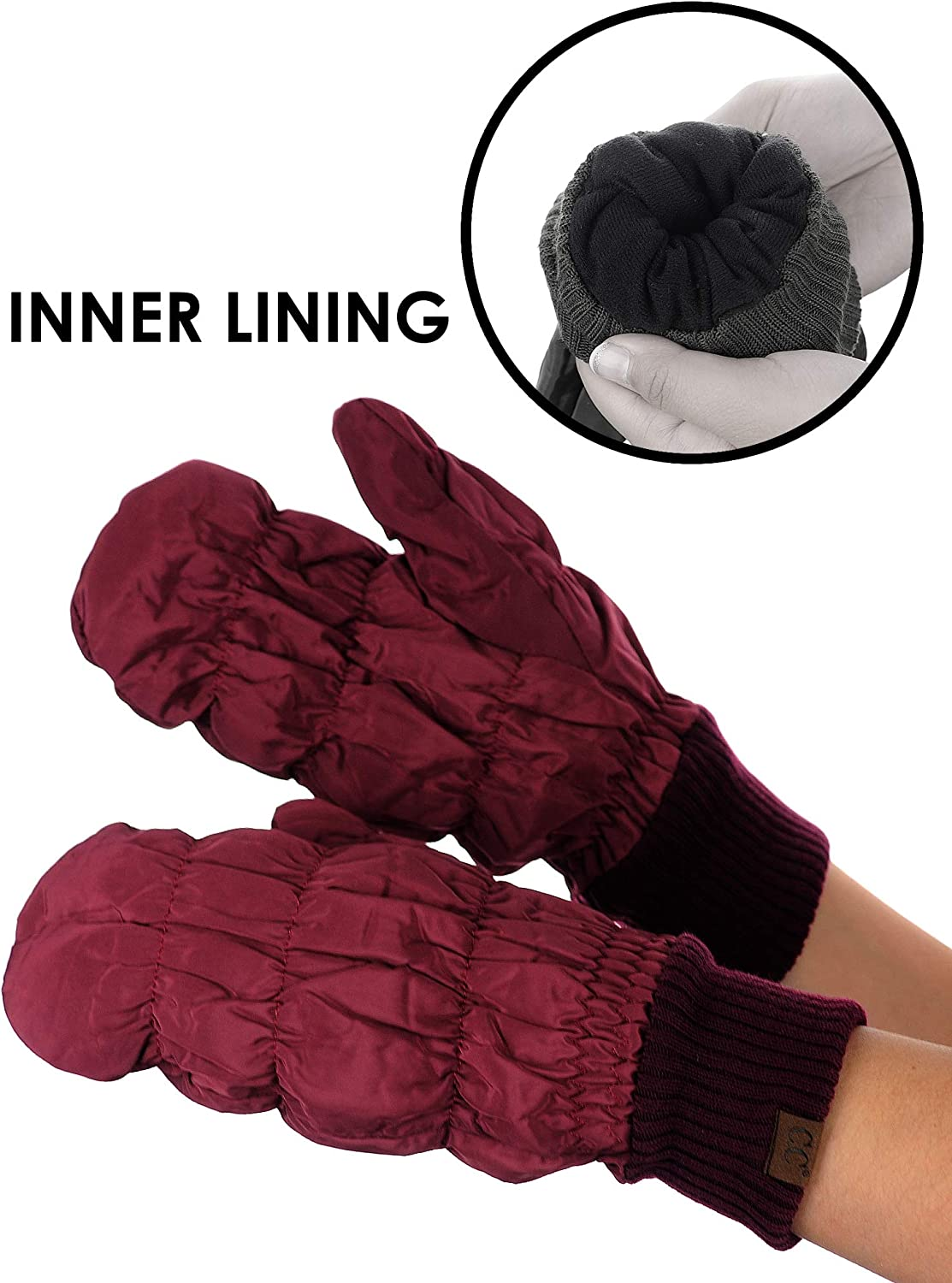 C.C Unisex Light Warm Soft Quilted Elastic Insulated Puffer Mittens