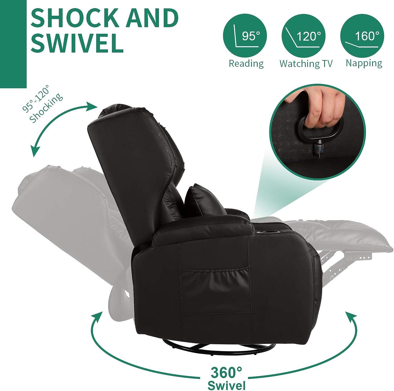 Manual Recliner Side Pockets Swivel Rocker Recliner Chairs Black ...