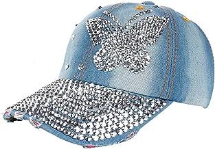 EOWEO Caps Hat,2019 Anniversary Celebration Women Men Butterfly Denim Rhinestone Baseball Cap Snapback Hip Hop Flat Hat