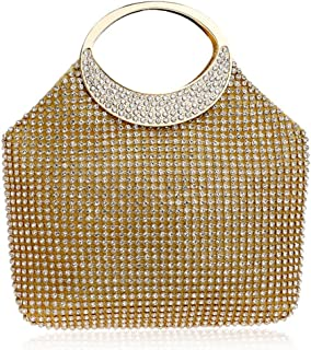 Ladies Rhinestone Crystal Party Evening Fashion Party Celebration Wedding Bridal Handbag Clutch Bag Handbag Size: 16 * 2.6 * 21.5cm Fashion (Color : Gold)
