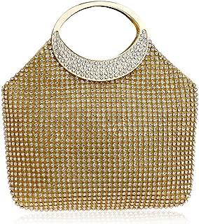 Sturdy Clutches Handbag Tote for Women Ladies Rhinestone Crystal Party Evening Handbag Fashion Party Celebration Wedding Bridal Handbag Large Capacity (Color : Gold)