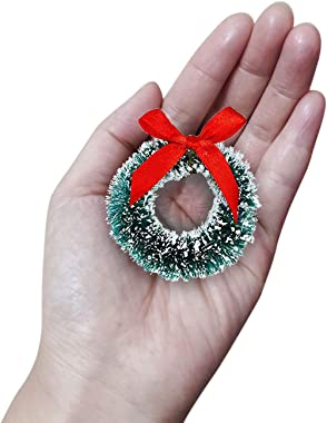 Trounistro 12 Pack Mini Christmas Wreaths Artificial Christmas Wreath for Christmas Crafts and Decorations (Color 1)