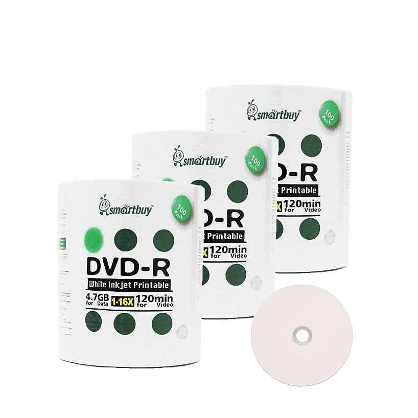 Smart Buy 300 Pack DVD-R 4.7gb 16x White Printable Inkjet Blank Media Record Disc, 300 Disc 300pk