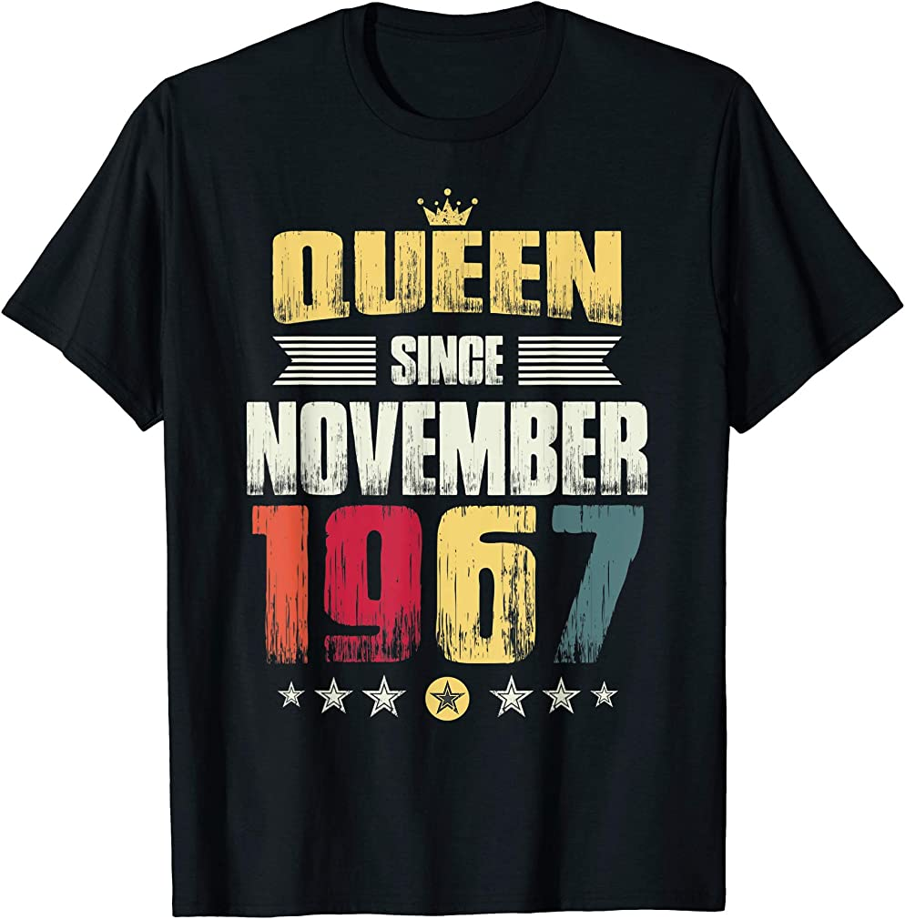 52nd Birthday Party Gift Women Queen Since November 1967 T-shirt