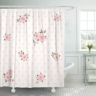 Emvency Shower Curtain Girlish Floral Polka Dot Shabby Chic Style Pattern with Pink Roses Delicate Wedding Waterproof Polyester Fabric 72 x 72 inches Set with Hooks