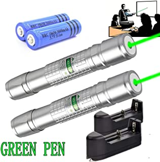 LOT 2 Pc 50Miles 532nm Green Pointer 18650 strong best burning Pointer Military Beam Pen Astronomy Tactical pointer near me USA