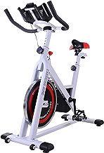 Homcom Bicicleta Estática de Spinning Bicicleta de Fitness Pantalla LCD Asiento y Manillar Ajustable Resistencia Regulable Carga 120kg 107x48x100cm Acero Blanco