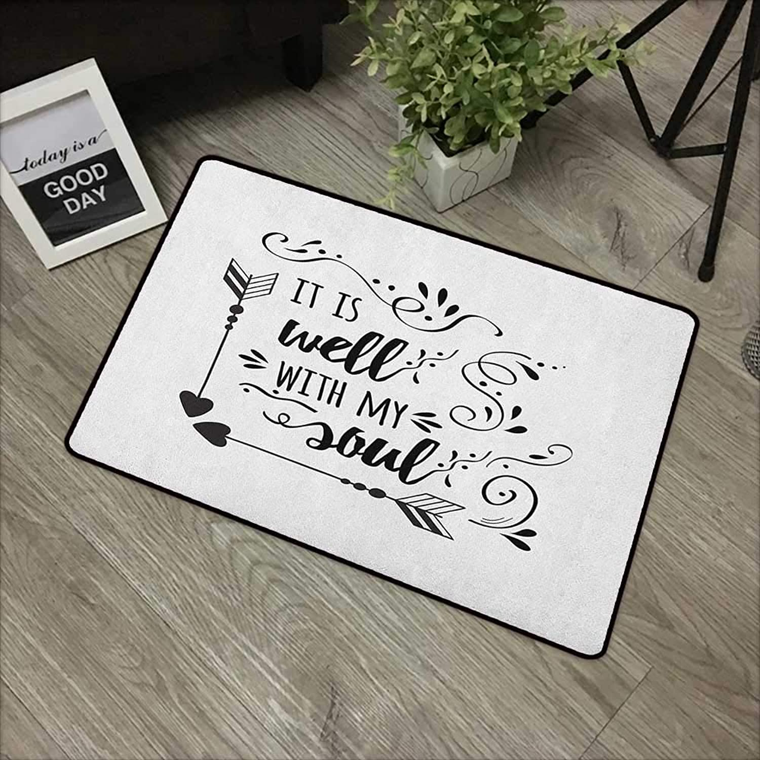 Bathroom anti-slip door mat W35 x L47 INCH It is well with my soul,Doodle Style Positive Inspirational Quote with Swirls Heart Arrows, Black White Non-slip, with non-slip backing,Non-slip Door Mat Car