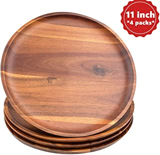 AIDEA Dinner Plates Set [11 Inch], Wooden Dinner Plates 4 Packs 100% Handcrafted,Easy Cleaning & Lightweight for Dishes Snack, Dessert, Charger Plates for Home Decor like Scented Candles