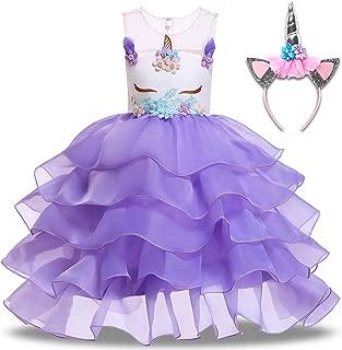 Baby Girl Unicorn Dress Flower Princess Christmas Dresses with Headband Tutu Skirt Birthday Wedding