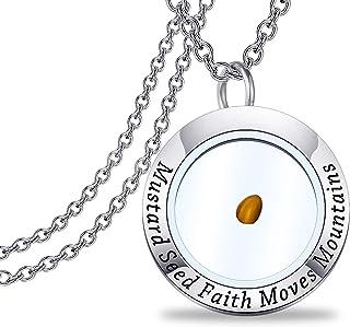 FEELMEM Mustard Seed Necklace Mustard Seed Faith Moves Mountains Christian Faith Pendant Necklace Religious Gift for Women...