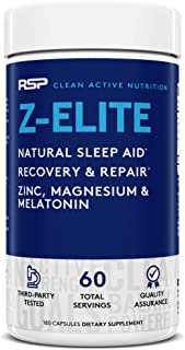 Z-Elite – Natural Sleep Support Supplement, Nighttime Muscle Recovery and Sleep Aid, Healthy Testosterone Support, Melatonin, Zinc and Magnesium, for Men & Women, 180 capsules (2-Month Supply)